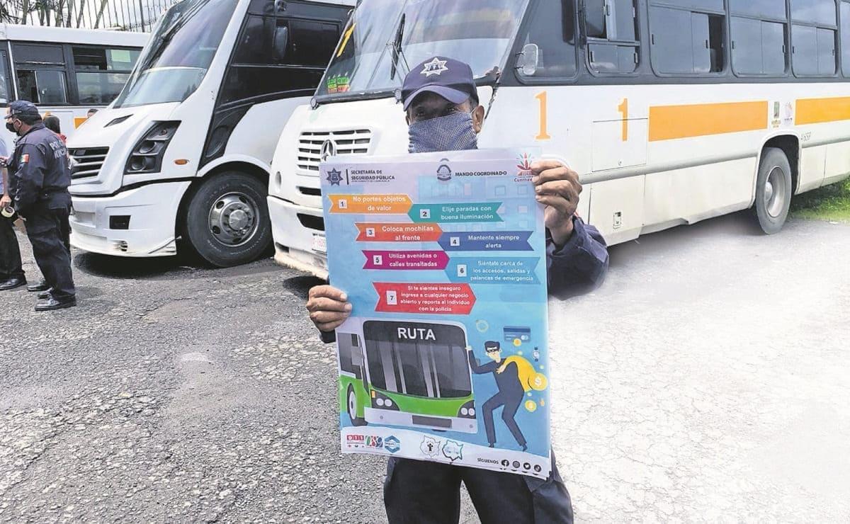 Policía en Morelos promueve acciones para disminuir asaltos en el transporte público