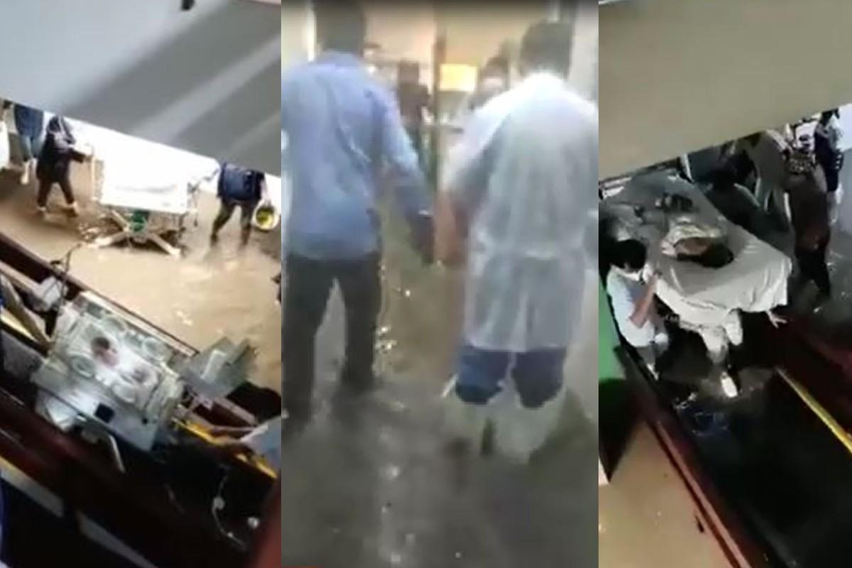Terror por bebés y pacientes, así se vivió la inundación dentro del hospital de Atizapán