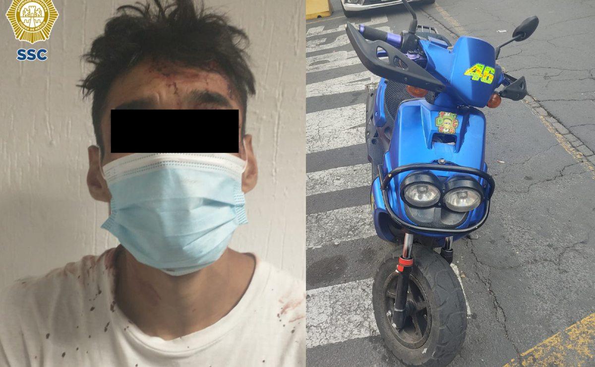 Atoran a ladrón de moto luego de amenazar al dueño con arma blanca, en CDMX