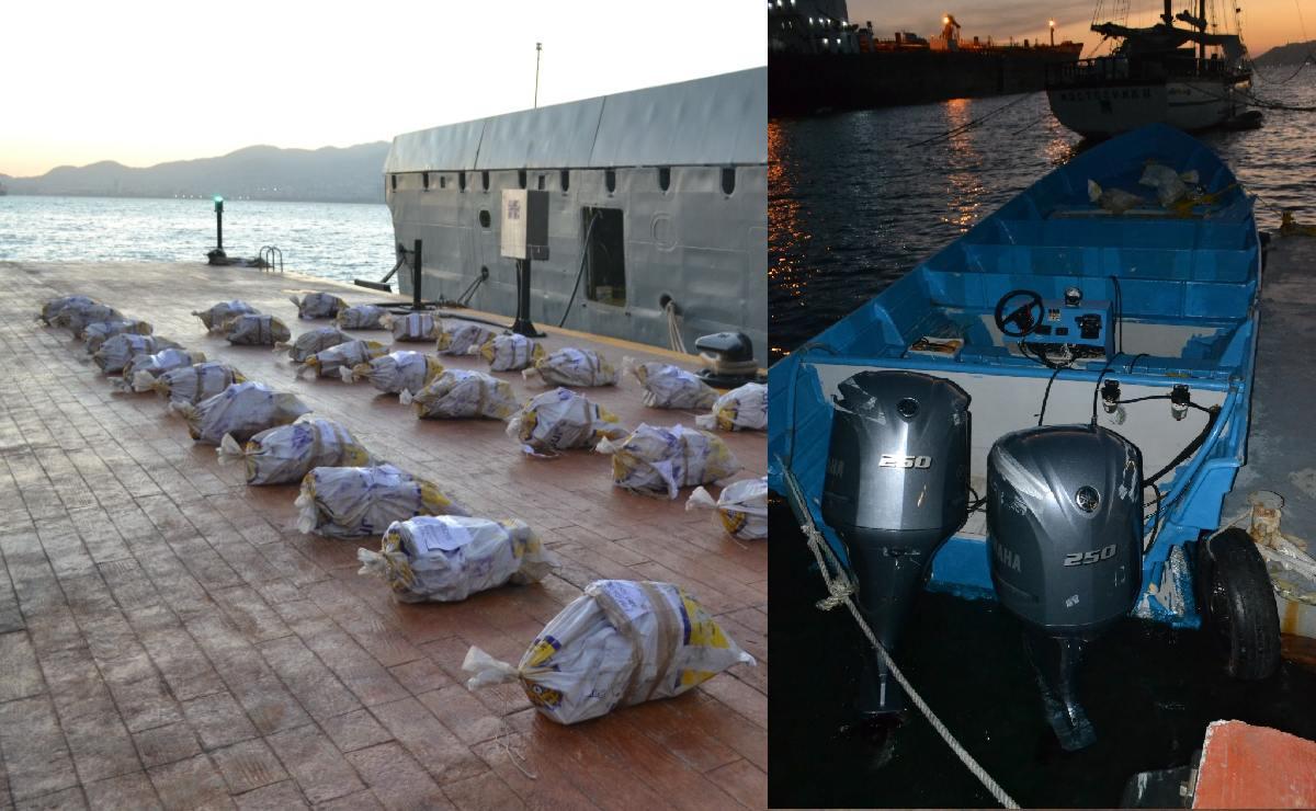 Atoran a cinco cuando transportaban en el mar 728 kilos de cocaína, en Acapulco