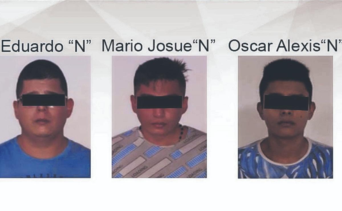 Detienen a tres hombres y a un menor por robar en una tienda de conveniencia, en Morelos