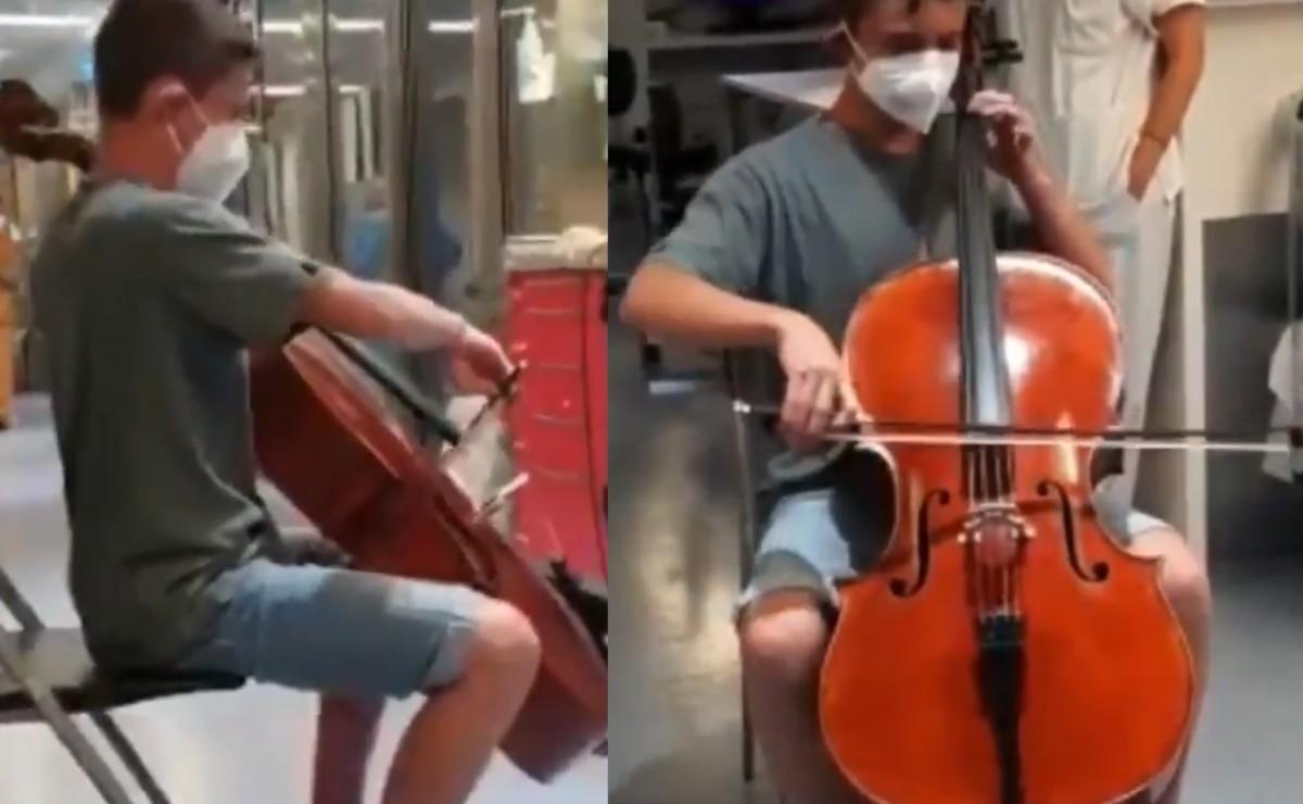 Adolescente le lleva concierto hasta el hospital a su papá con Covid, en España