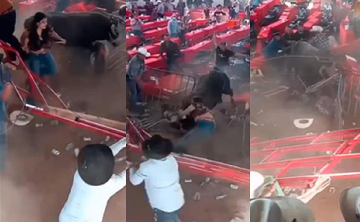 Toro embiste a asistentes a jaripeo en Michoacán, se reportan 10 lesionados