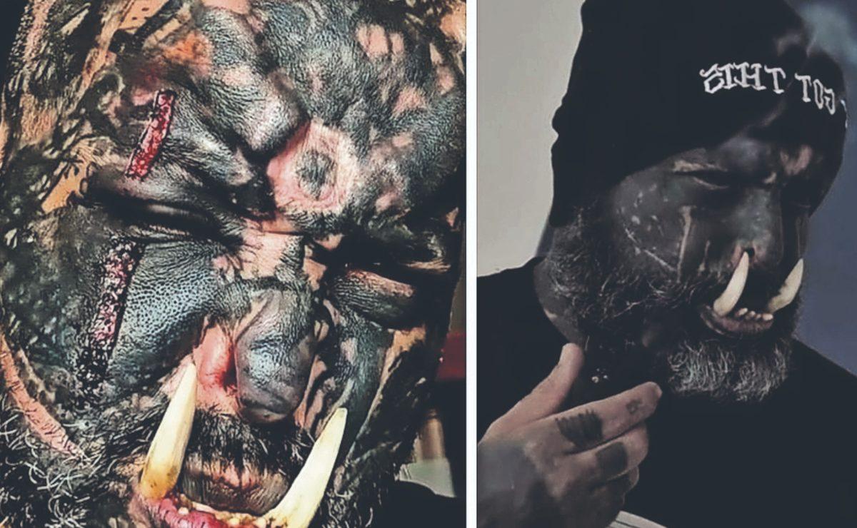 Brasileño cumple sueño de ser un orco infernal, tiene tatuajes, mutilaciones y lengua bífida