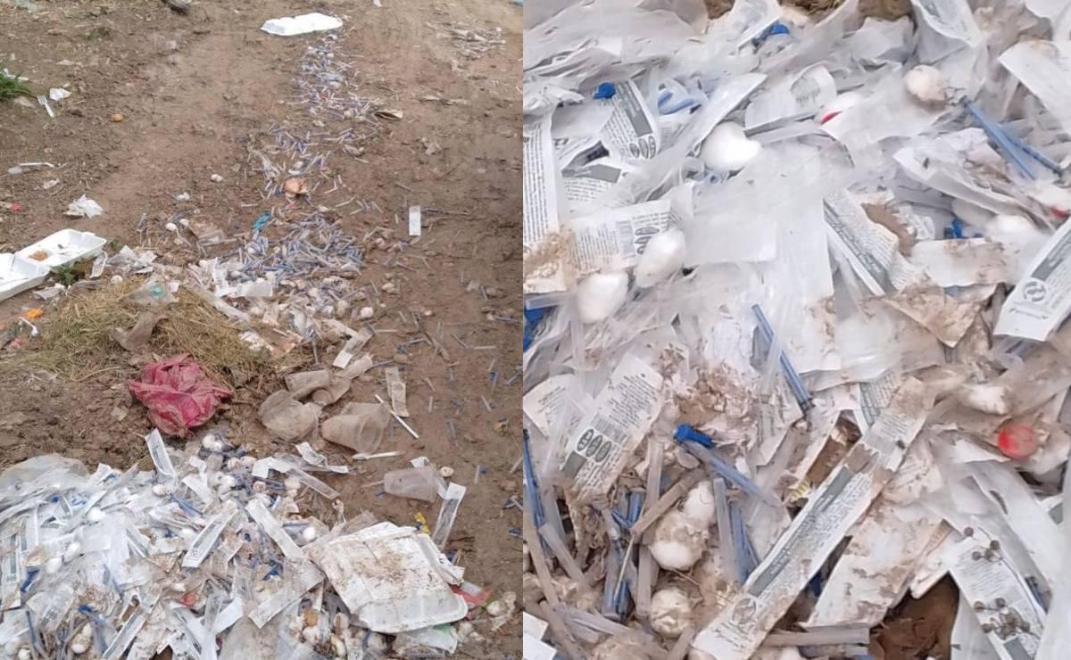 Pepenadores reportan abandono de cientos de jeringas usadas, en un basurero de Oaxaca