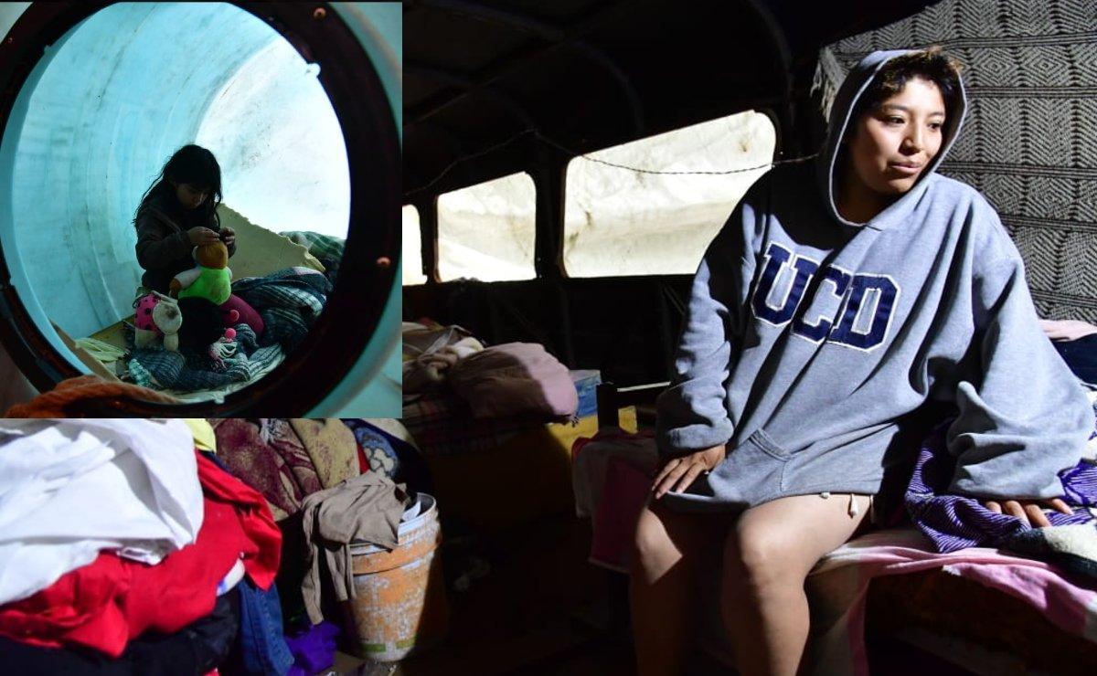 (VIDEO) Viven en un camión y duermen en tambo en Topilejo, acusan a Sedena de desalojo violento