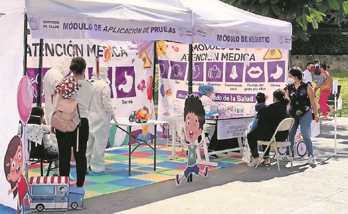 Instalan 3 módulos para pruebas anti-Covid en Morelos, para niños de cero a 5 años de edad