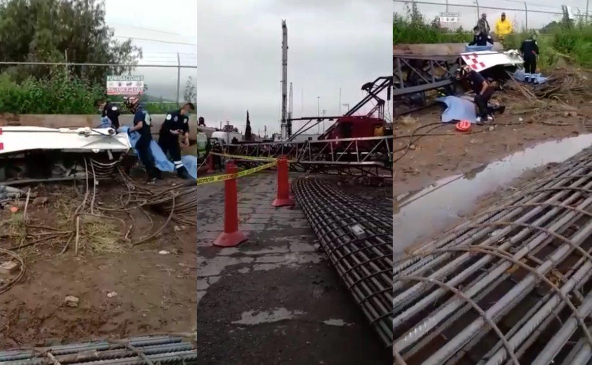Así quedaron los cuerpos de cinco trabajadores tras caerles una grúa, en Ecatepec