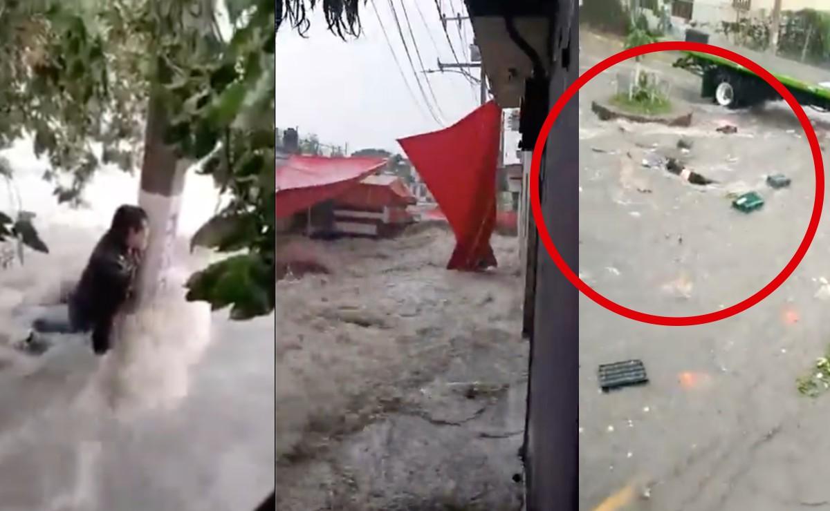 Mega inundación sumerge a Tlalnepantla, arrastra personas, autos y destruye tianguis