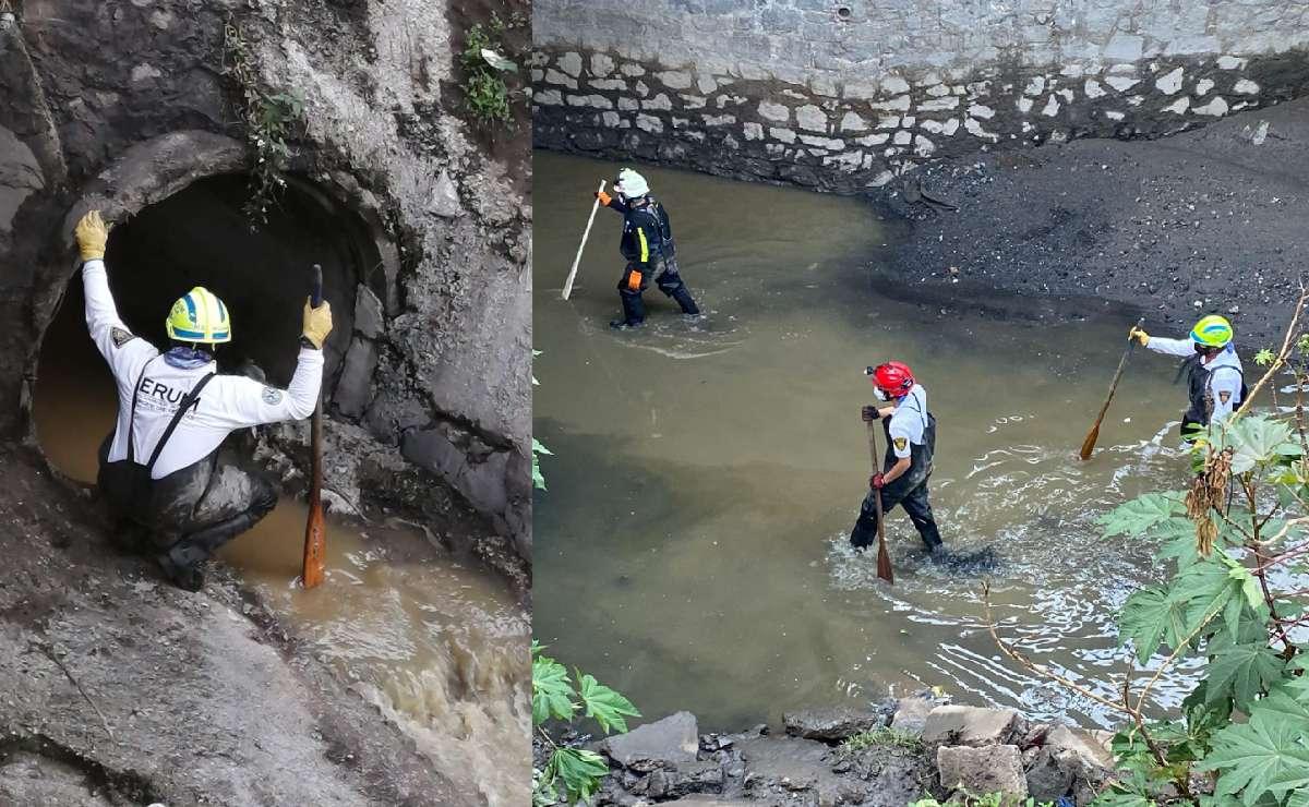 Buscan en aguas negras y túneles a joven de 18 años arrastrada por inundación, en Tlalnepantla