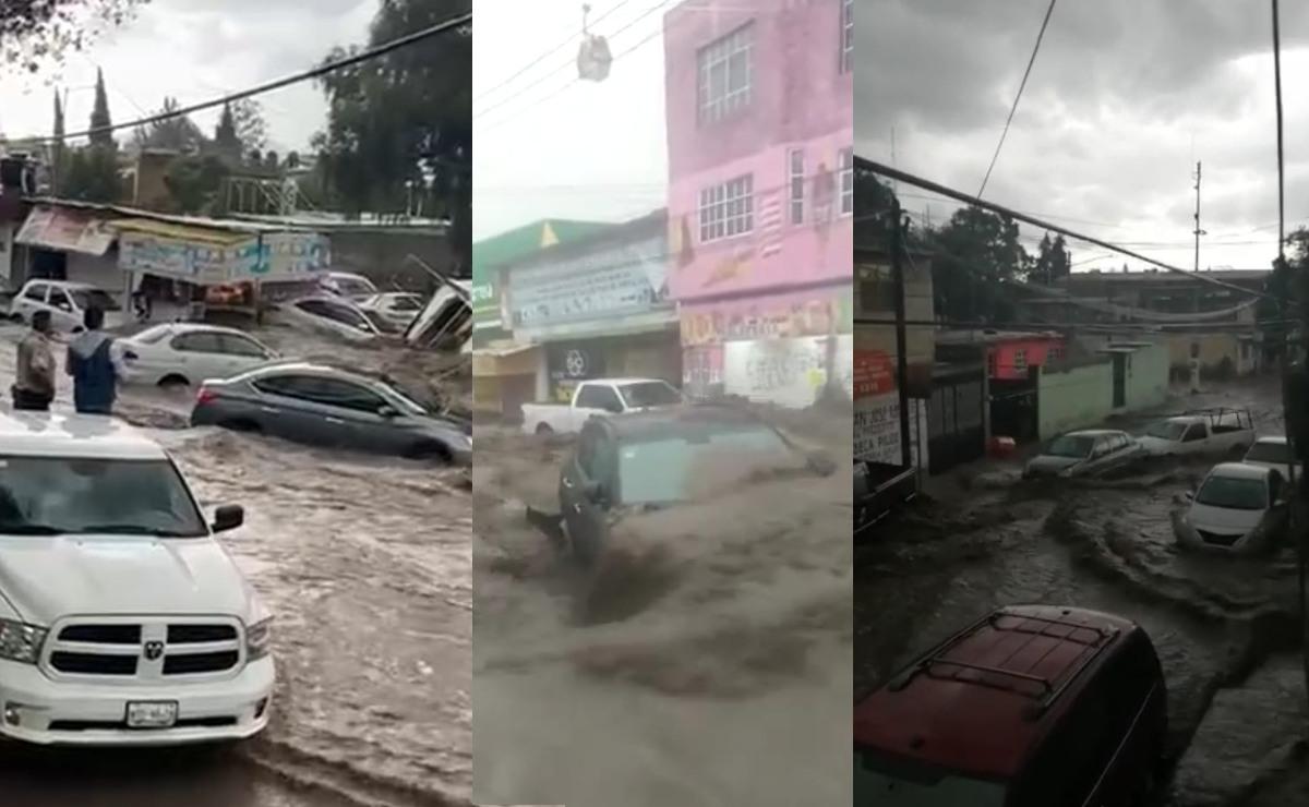 Se inunda Ecatepec con aguas negras, videos del desastre que arrasó con coches y negocios