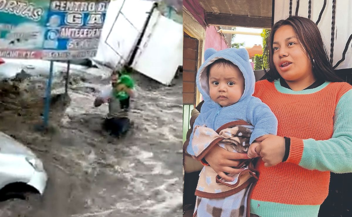 Héroes sin capa arriesgaron su vida para salvar a un bebé de la inundación, en Ecatepec