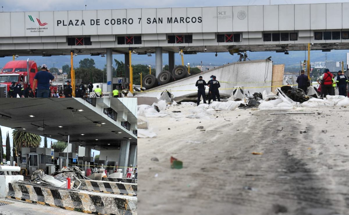 Tráiler se estampa contra caseta de San Marcos en la México - Puebla, hay muertos y heridos