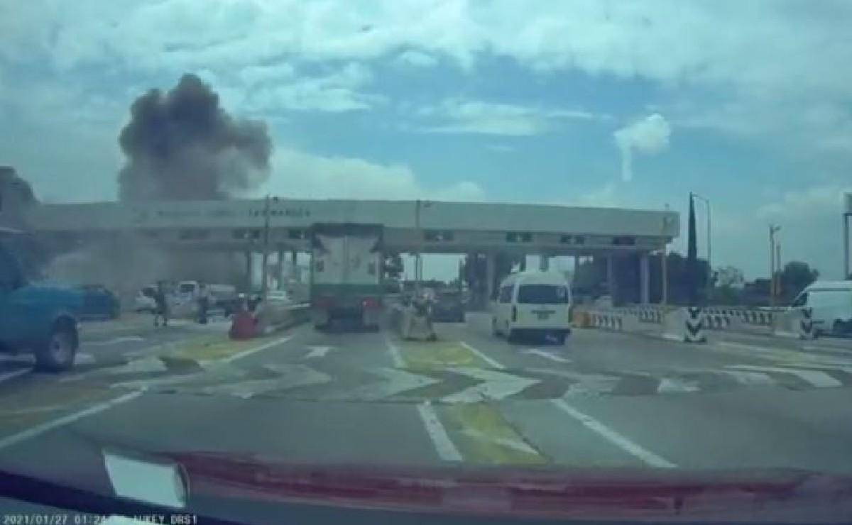 Video captó momento exacto del choque de tráiler contra una caseta en la México - Puebla