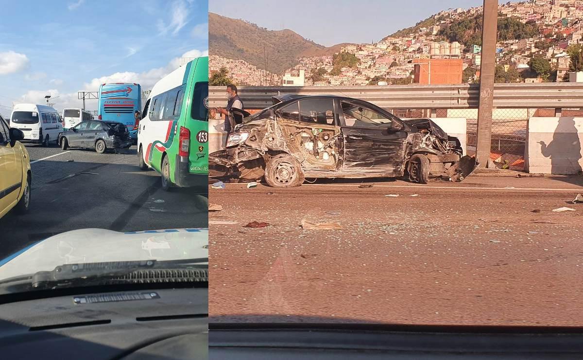 Maldición persigue a los tráileres, choca uno contra varios vehículos en la México - Pachuca