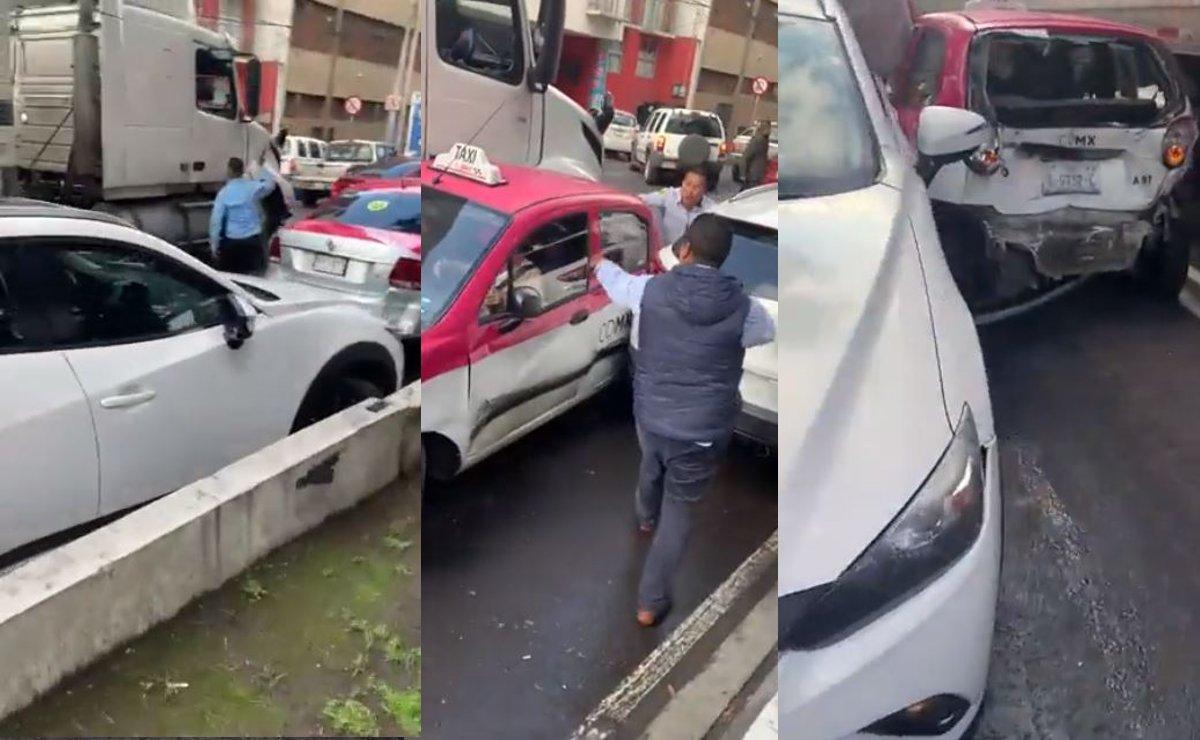 Otra de traileros, conductor choca contra varios en Iztacalco y le dan golpiza