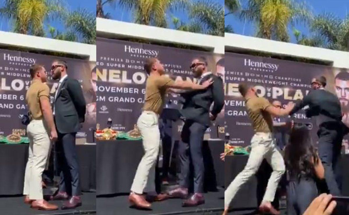 Canelo Álvarez esquiva golpe de Caleb Plant y lo deja lesionado, en plena conferencia