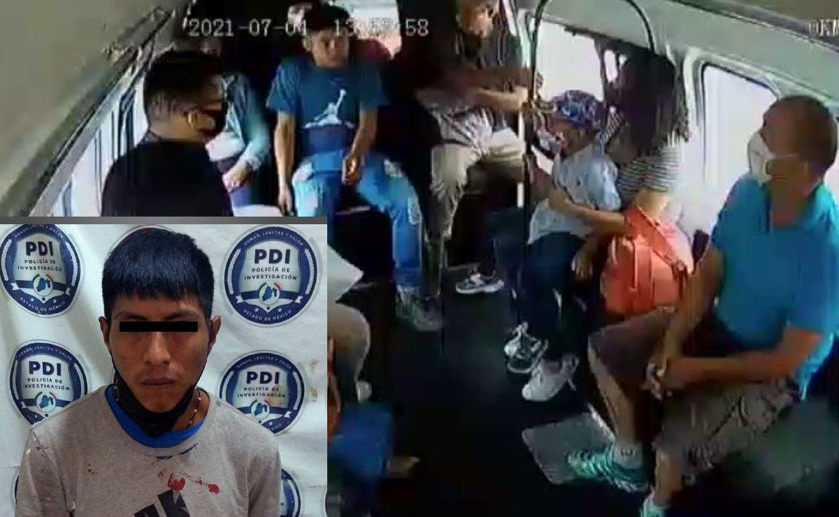 """Cae presunto asaltante de transporte público en Edomex, amenazó con """"quien se baje lo mato"""""""