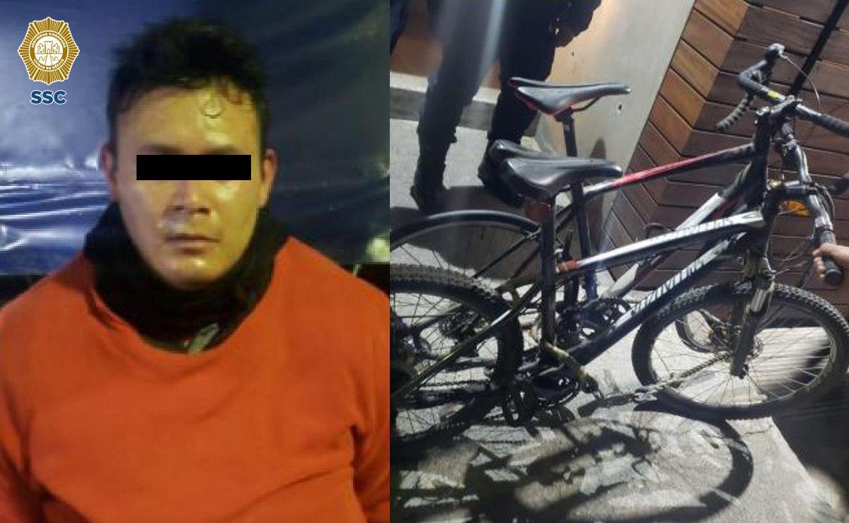 Atoran a ladrón de bicicletas chidas en la alcaldía Benito Juárez, hizo todo por escapar