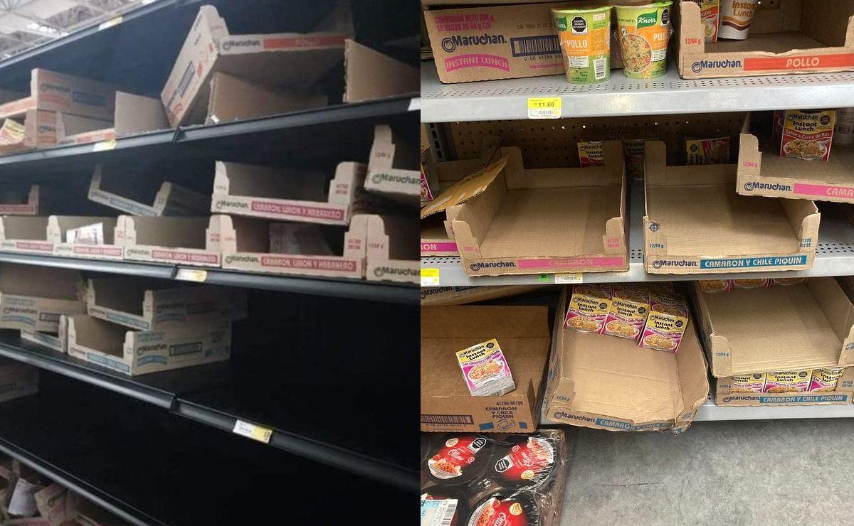 Mexicanos hacen compras de pánico y arrasan con sopas instantáneas de los supermercados