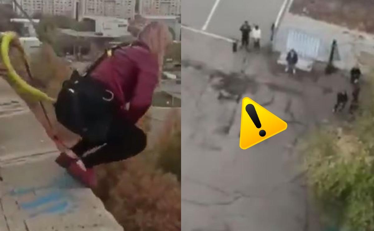 Aterrador video muestra caída de mujer de un bungee mal asegurado, ya es viral en el mundo