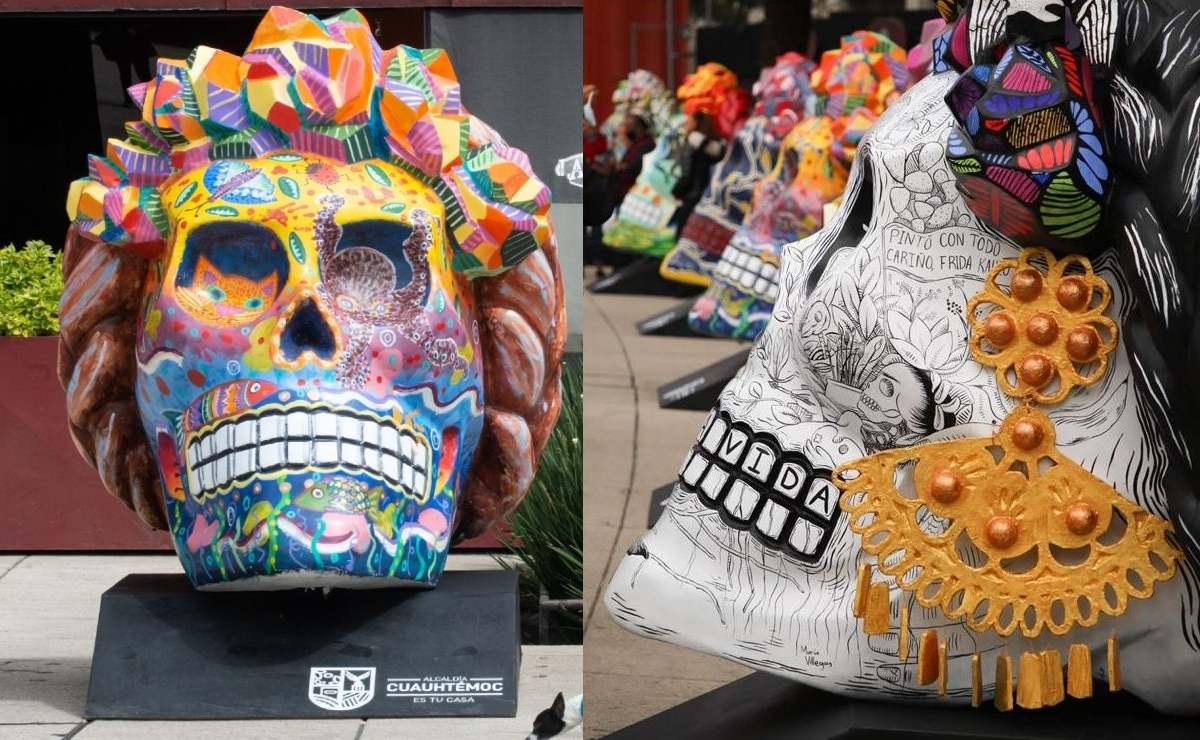 Llegan al Monumento a la Revolución enormes cráneos inspirados en Frida Kahlo
