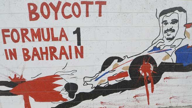 Manifestantes hacen pública su oposición al GP de Bahréin