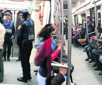 Policías vigilan trenes rehabilitados Línea 1 Metro CDMX