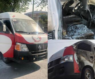Caen dos asaltantes que quemaron una camioneta de pasajeros en Edomex