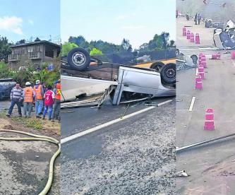 Chofer de pipa de agua muere aplastado luego de voltear su unidad en autopista del Edomex