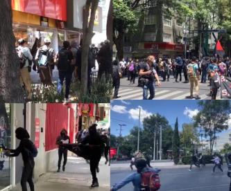 Encapuchados protestan en CDMX y vandalizan negocios, por muerte de George Floyd en EU