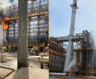 Pemex para refinería en Salina Cruz por incendio tras sismo, se reporta un lesionado
