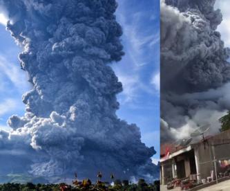 Volcán indonesio Sinabung entró en erupción y lanza columna de ceniza de 5 mil metros
