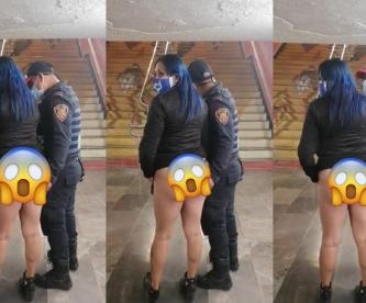 Graban a policía en pleno encuentro sexual con su novia en tanga, en el Metro CDMX