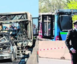 Secuestra autobús escolar y lo quema con estudiantes a bordo Italia
