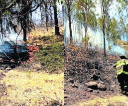 Arden pastizales en el cerro de La Teresona en Toluca