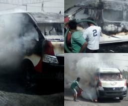 Capturan a dos hombres cuando incendiaban una combi en Tecámac