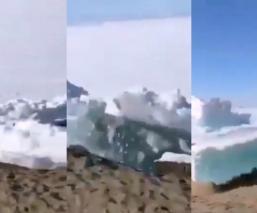Graban impresionante tsunami de hielo que marca el inicio de verano