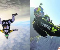 'Hombre Avión' causa furor tras volar sobre la cordillera de los Alpes Dolomíticos