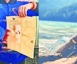Niño se va de pesca con su papá y halla botella con carta de hace 50 años