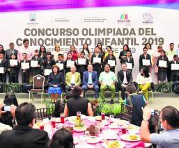 Dan reconocimiento a 23 alumnos de Morelos por la Olimpiada del Conocimiento Infantil