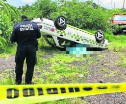 taxista estado de ebriedad exceso de velocidad muere accidente volcadura taxi santa maría rayón
