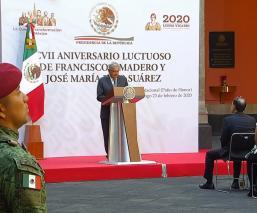 AMLO rinde homenaje a Madero y Pino Suárez en Palacio Nacional por aniversario luctuoso