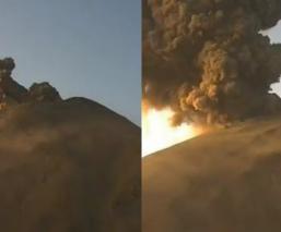 Autoridades mexicanas captan en video gran explosión del volcán Popocatépetl