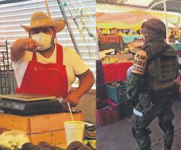 Ejército revisa que locatarios respeten a 'Susana Distancia', en tianguis de Atlacomulco