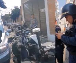 """Surge """"Lord Moto Infectada""""; motociclista enfrenta a policías retenes sin cubrebocas en CDMX"""