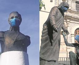 En Toluca ponen cubrebocas a 44 monumentos, buscan crear conciencia entre la gente