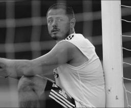 Hernández durante el entrenamiento del Galaxy