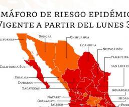 Cuáles estados están en semáforo naranja y rojo por el Covid-19 en México