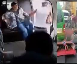 Pasajeros enfurecen contra asaltante de combi y lo tunden desnudo en la México-Texcoco